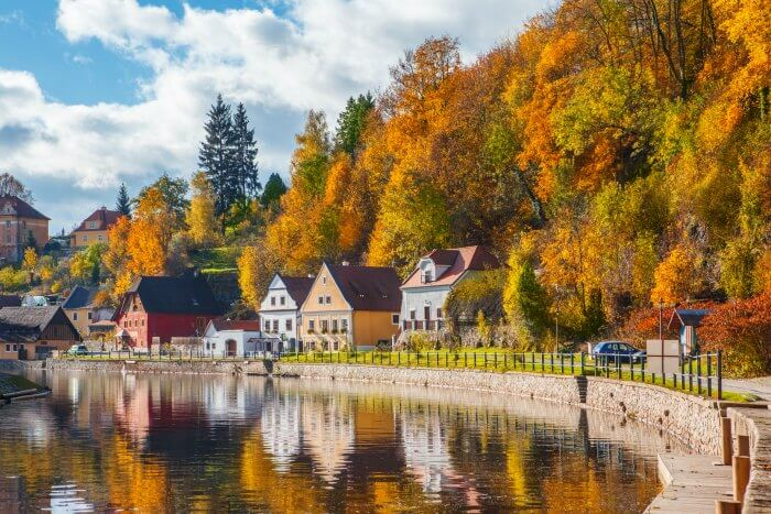 A quaint town by the lake in Czech Republic