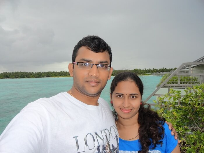 Karthik and his wife at the water villa in Sun Island Resort