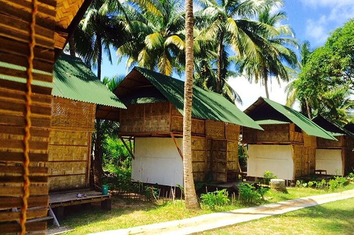 The Two Level Bamboo Lodges at the popular Emerald Gecko budget resort in Havelock