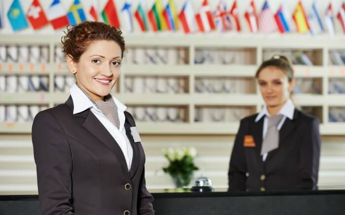 Female receptionists at a hotel