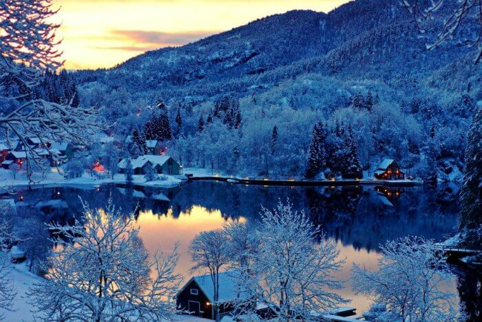 A town and lake in Finland turned beautiful in winters