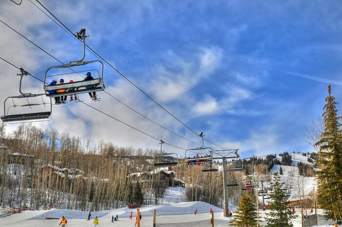 Gondola Ride at Ski resort in Snowmass near Aspen Colorado on a sunny day