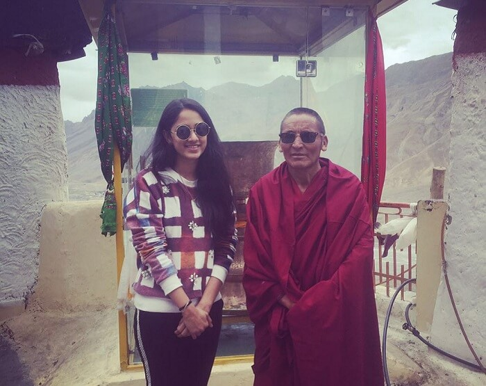 Lehan with a monk in Himachal