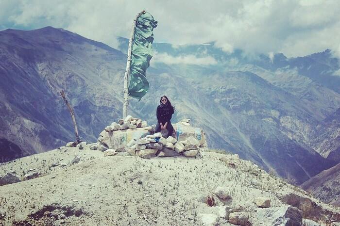 Lehan on the mountain edge in Himachal