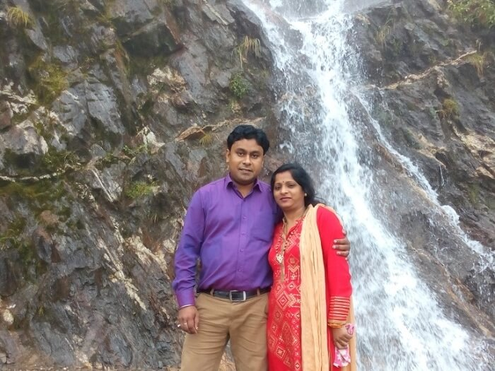 Rahul and his wife at Banjhakri Falls