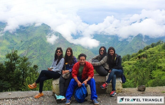 Lehan and her friends pose for a photo in the hills of Himachal