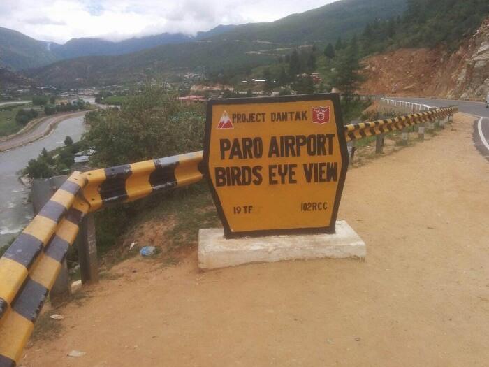 Paro Airport sign in Bhutan