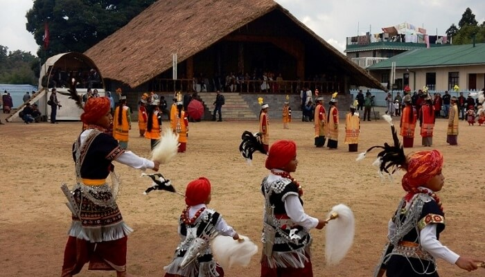 Locals perform dances during the Ka Pomblang Nongkrem festival