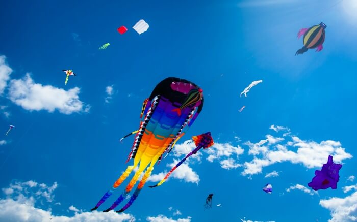 Colorful kites soaring high in International Kite Festival in Gujarat