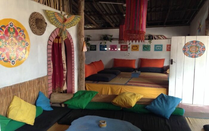 Traditional seating arrangement at Koha Surf Lounge in Galle