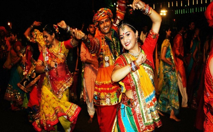 People doing garba during Navratri festival in Gujarat