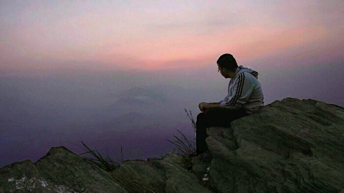 enjoying the beautiful sunset at seen from chauli ki jali