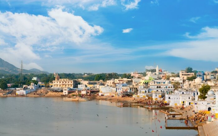 View of Pushkar Lake on a pleasant day
