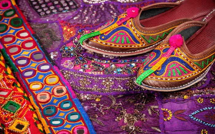 Colorful and jutti and Rajasthani fabric