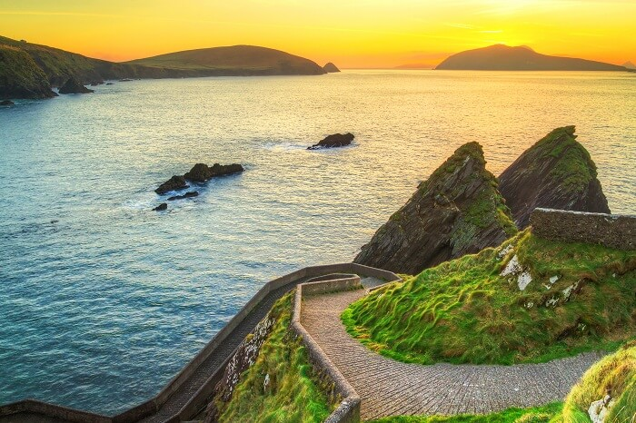 Sunset over Dunquin bay on Dingle Peninsula
