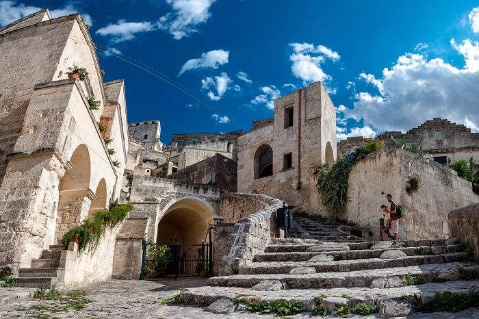 Typical stone stairs at the UNESCO World Heritage Site of Matera Sassi di Matera