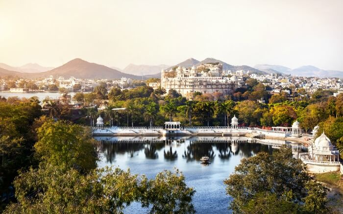 Aerial view of Lake Pichola in Udaipur