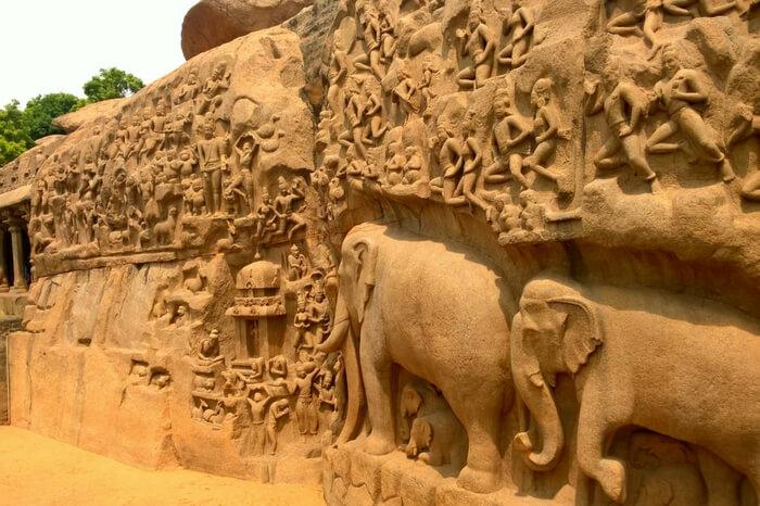 Rock-cut temples built on a single rock at Mamallapuram
