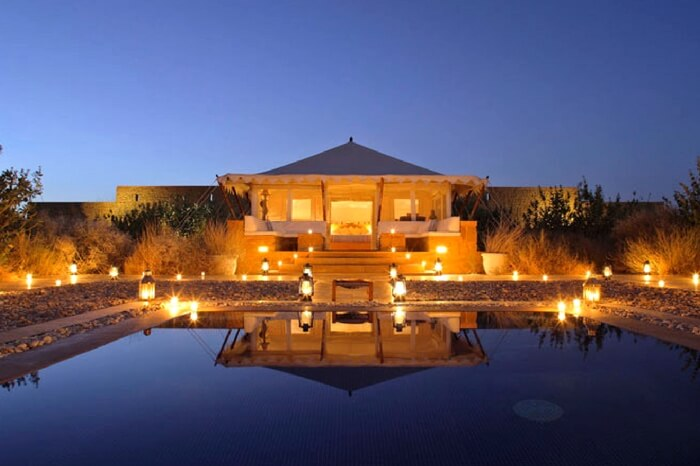 The picturesque view of The Serai in Jaisalmer