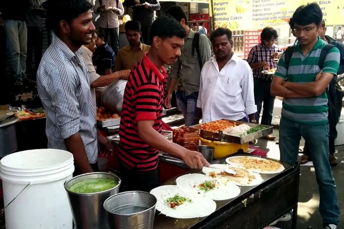 Dosa being prepared at a stall in Ameerpet area