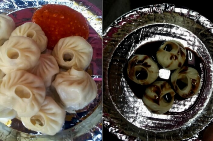 Chocolate momos and chicken momos at Momos Point Habsiguda