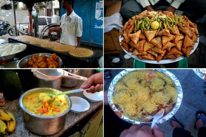 South Indian specialities in Golconda street in Hyderabad
