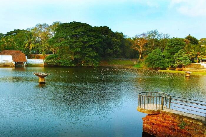 A beautiful shot of the Vadakkechira Lake and the surrounding area