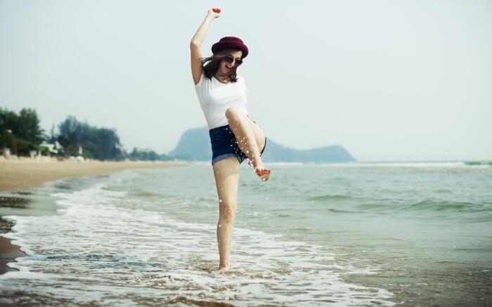 A woman enjoying on a beach