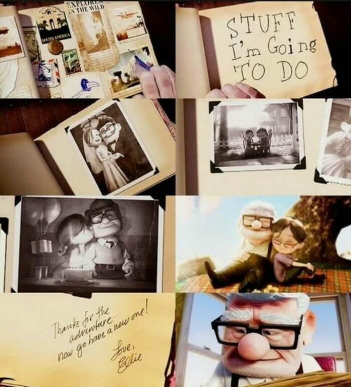 pages from Ellie's adventure scrapbook from the movie Up