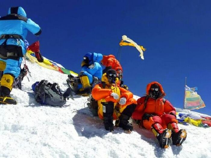 Bhagwan and Ritesh celebrate on their way to Mt Everest