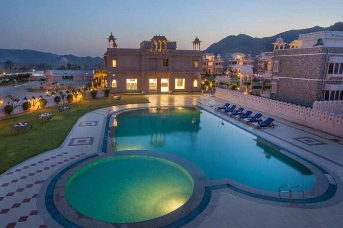 An evening shot of the exteriors of the grand Bhanwar Singh Palace in Ajmer