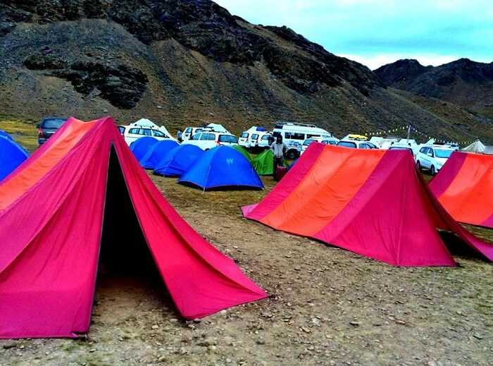 Camps at Chandrataal lake