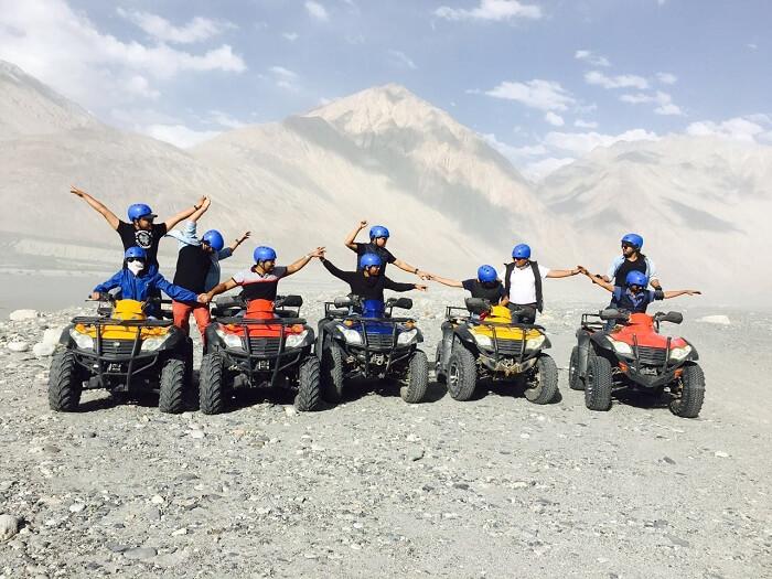 Sumit and his friends enjoy quad biking in Nubra Valley