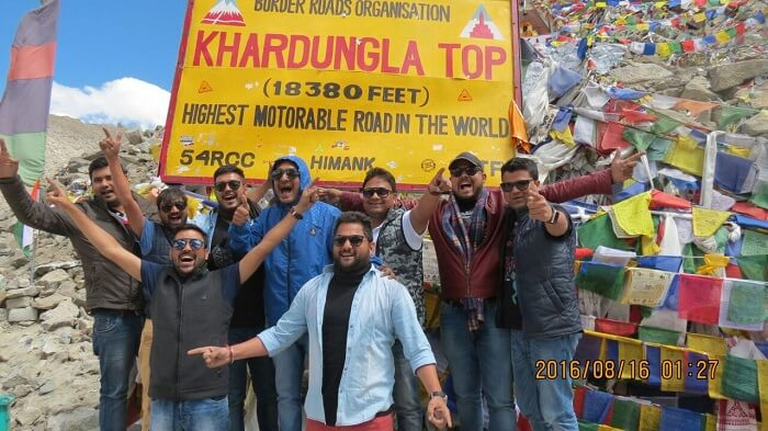Sumit and his friends at Khardungla