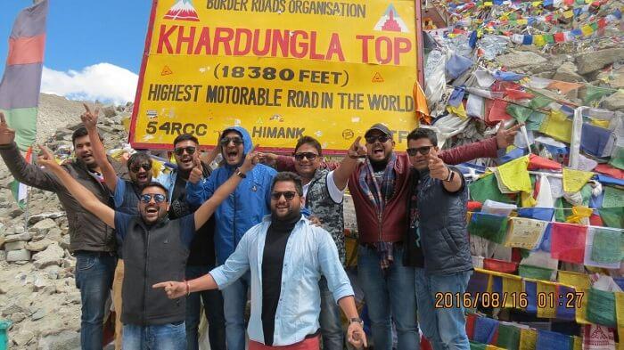 Sumit and his friends at Khardungla