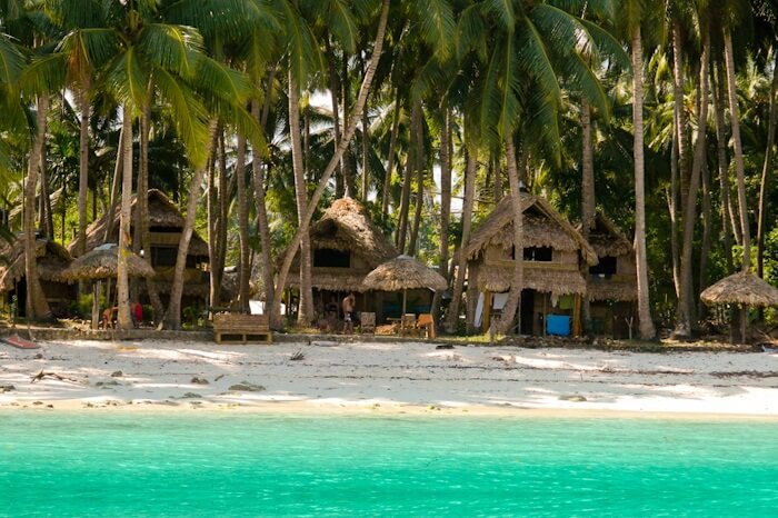 A view of the Eco Villa Palm Beach Resort in Havelock from the sea