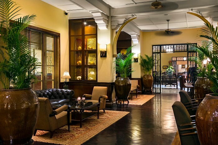 A calm scene from the elegant Elephant Bar at the Raffles Grand Hotel d'Angkor in Siem Reap in Cambodia