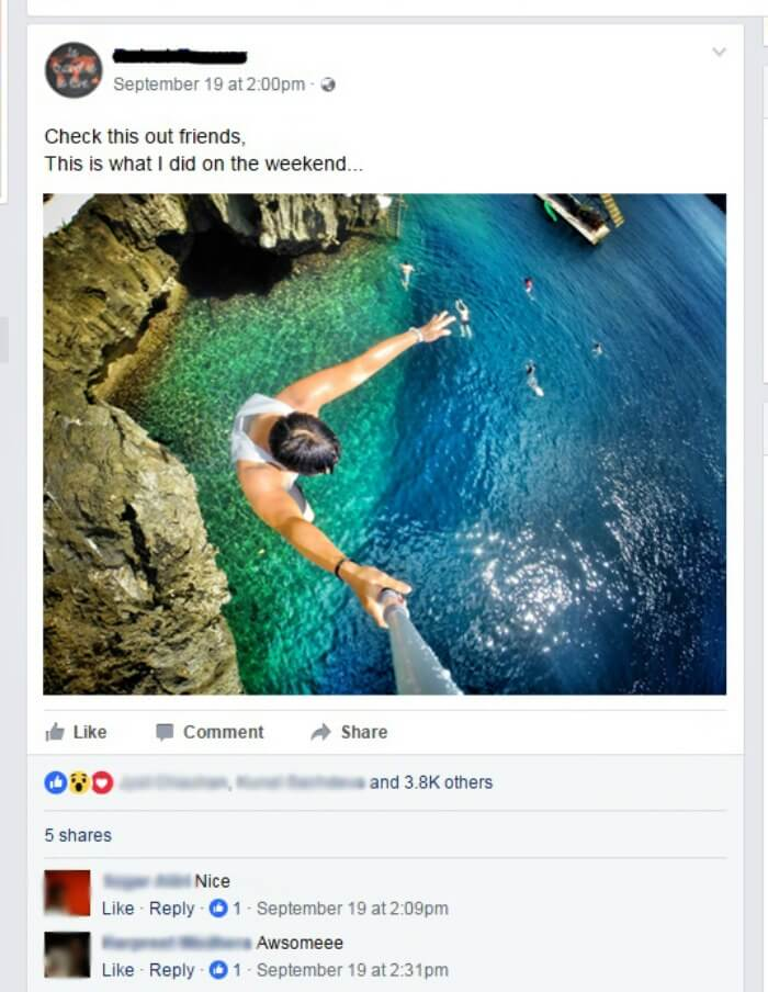 a man posting a selfie of himself cliff diving
