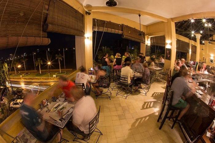 Guests dining at the FCC restaurant at Phnom Penh that is said to be the center of the Cambodia nightlife