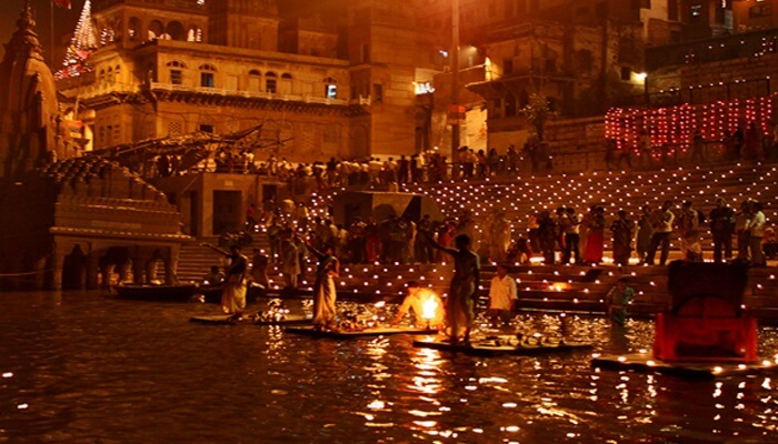 Worshippers gather on the ghats of river Ganga in Varanasi to celebrate the Ganga Mahotsav