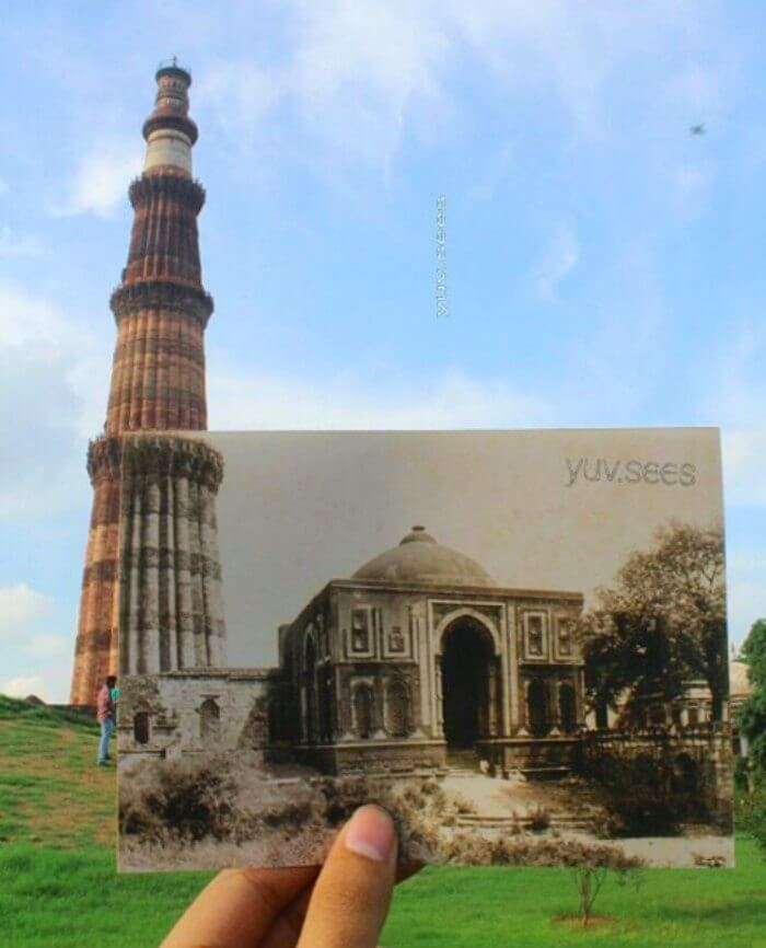 What Qutub Minar looked back then vs what it looks now