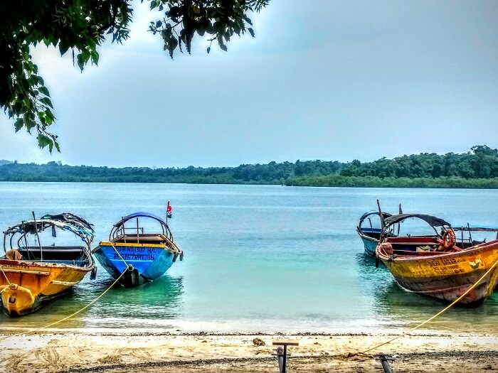 Boats on a beach in Andaman