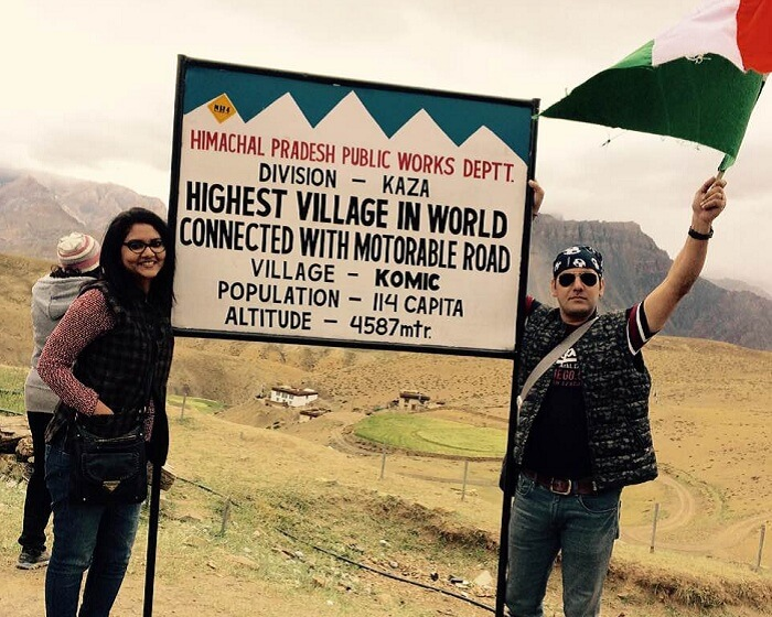 Sweta and Nikkhil at Komic the highest village in world