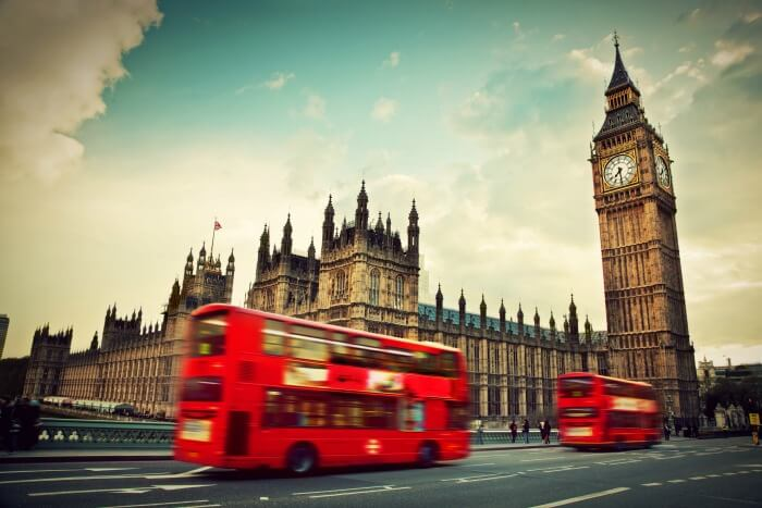 The double decker bus near the London Clock Tower