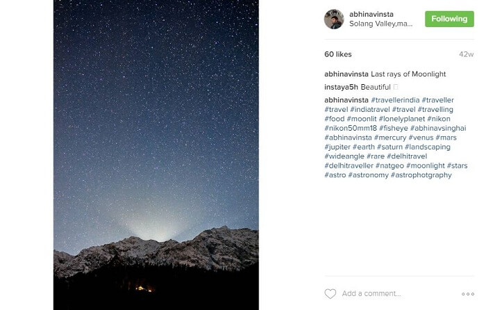 Starry night sky in Himalayas