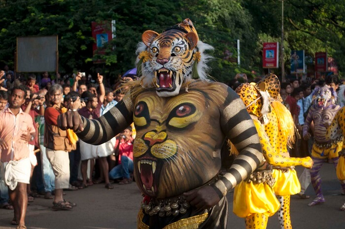 Ceremonial parade during the Athachamayam Festival that is associated with Onam