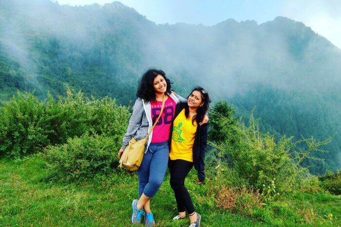 radhika and her friend in Dhanaulti