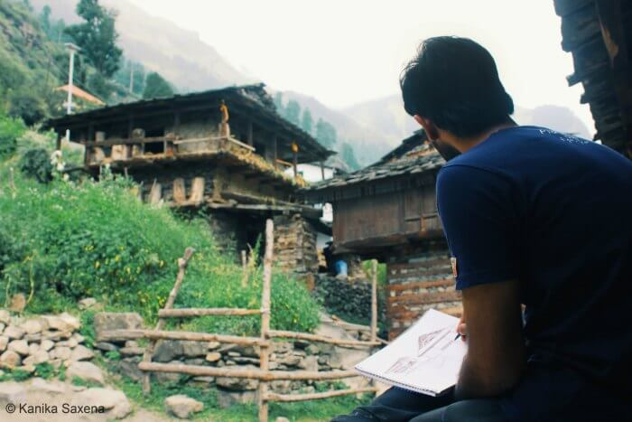 rahul starting his sketch in nakthan village