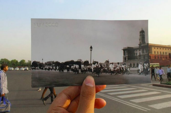 What roads near Rashtrapati Bhavan looked back then vs what it looks now