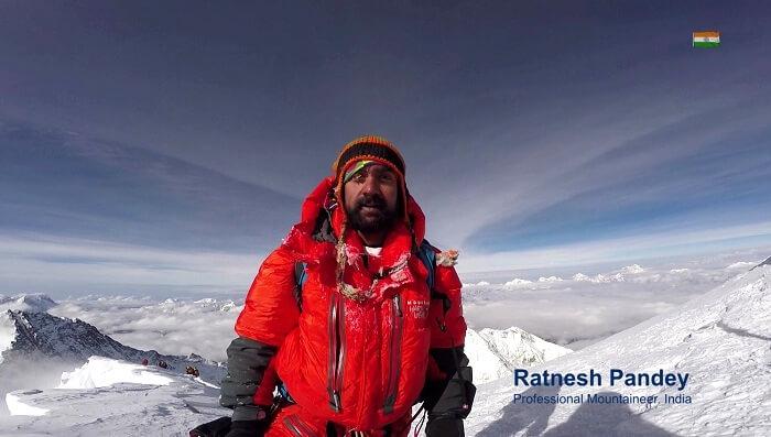 Ratnesh Pandey on top of Mt Everest